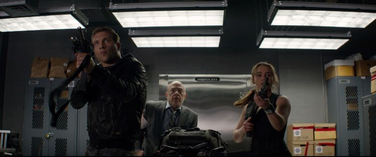 Left to right: Jai Courtney plays Kyle Reese, JK Simmons plays Detective O'Brien, and Emilia Clarke plays Sarah Connor in Terminator Genisys from Paramount Pictures and Skydance Productions.