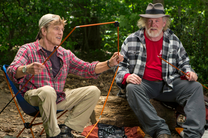 This photo provided by Broad Green Pictures shows, Robert Redford, left, as Bill Bryson and Nick Nolte as Stephen Katz taking in the view along the Appalachian Trail in the film,